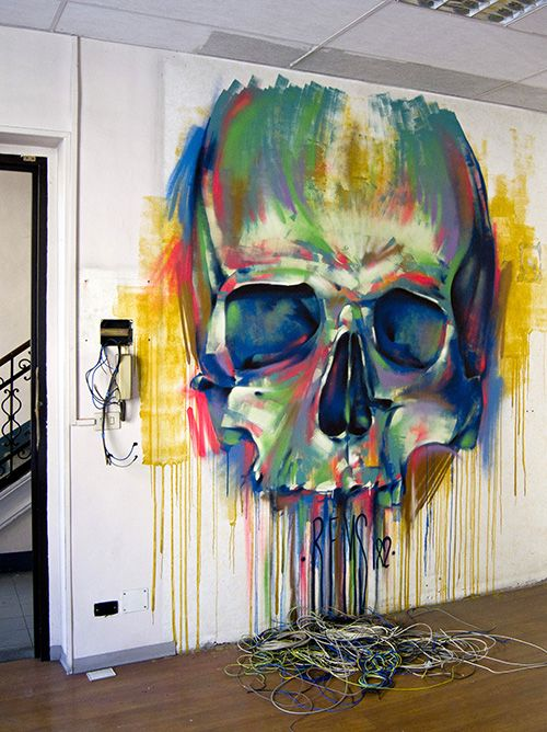 Street Art / Graffiti. So cool for a #watercolor #skull piece - I'd love this in the games room!