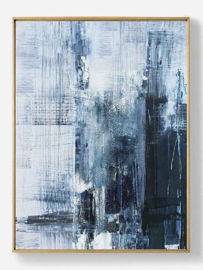Original Deep Blue Abstract Art Minimalist Abstract Painting Large Abstract Oil P In 2020 Abstract Art Paintings Acrylics Wall Canvas Painting Living Room Art Painting