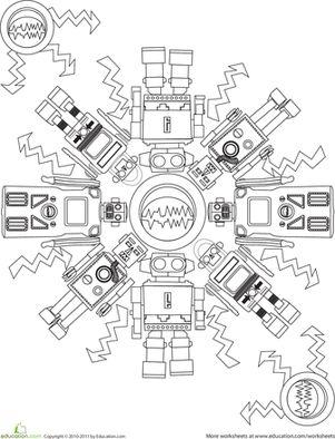 First Grade Mandalas Worksheets: Robot Coloring Page