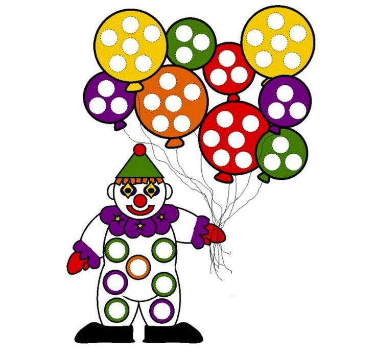 clow et ballons à décorer avec des gommettes