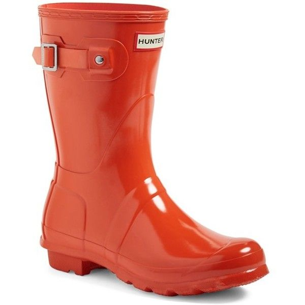 Women's Hunter 'Original Short' Gloss Rain Boot ($140) ❤ liked on Polyvore featuring shoes, boots, orange, shiny boots, hunter shoes, wellies boots, wellies shoes and hunter boots