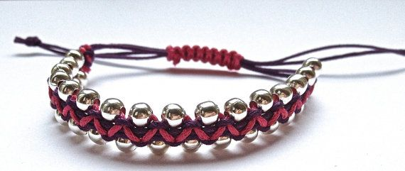 Silver Beaded Bracelet, 2 Coloured Macrame Bracelet beads, Silver plated Nickel free beads 5mm, Friendship bracelets with beads. £8.00, via Etsy.