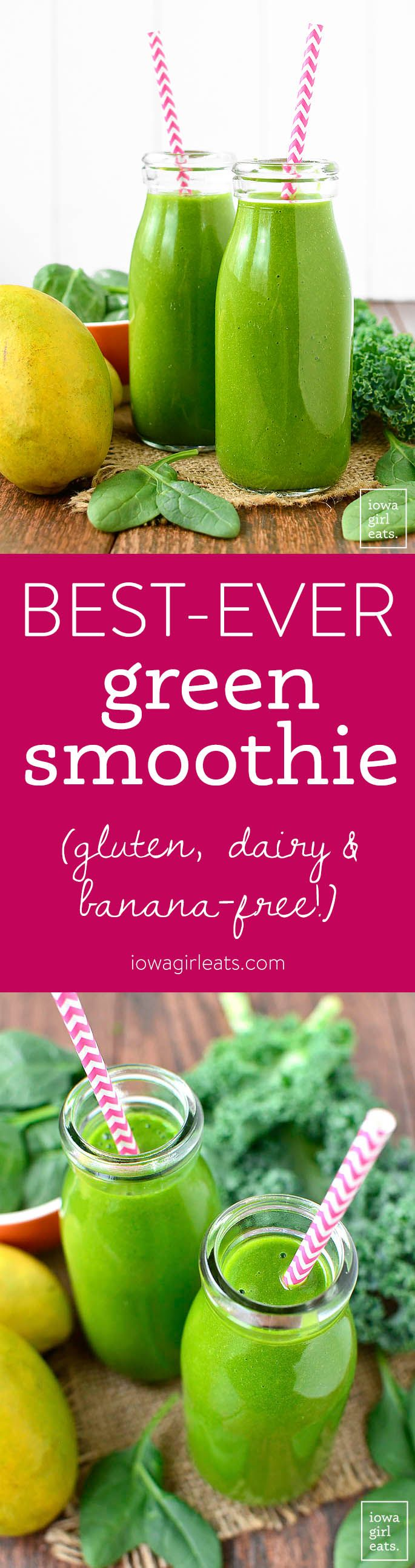 4-ingredient Best-Ever Green Smoothie isgluten, dairy, and banana-free, and is the best-tasting green smoothie EVER! If you don't want to eat your dark leafy greens – drink them instead! | iowagirleats.com