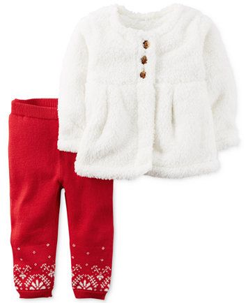 Carter's 2-Pc. Faux-Sherpa Cardigan & Pants Set, Baby Girls (0-24 months) | macys.com
