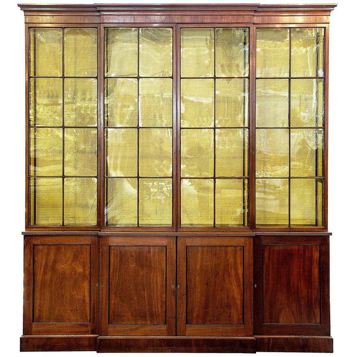Georgian Mahogany Breakfront Display Cabinet 1