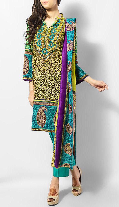 Buy Sea Green Printed Cotton Lawn Salwar Kameez by Blossom Cotton Lawn Collection