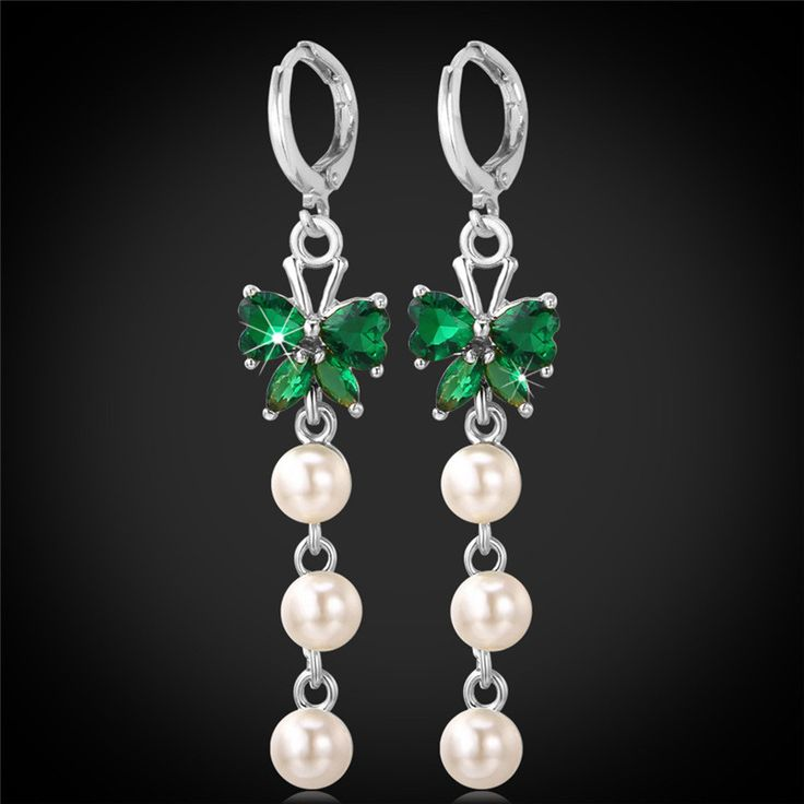 Long Earrings For Women Pearl Jewelry AAA Cubic Zirconia 18K Real Gold/Platinum Plated Emerald Drop Earrings 2015 Fashione