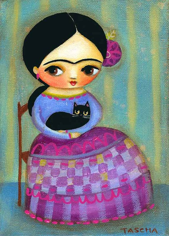 FRIDA kahlo black cat PRINT of mexican folk art painting by tascha