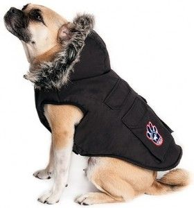 Here is a winter worthy cargo jacket that will not only provide warmth and element protection for your pet but can also double as a rain coat. It has a rugged waterproof shell, four functional cargo pockets secured with Velcro so your pets can carry some of their own supplies, has a fully removable hood (button snaps) and a leash / harness slit.