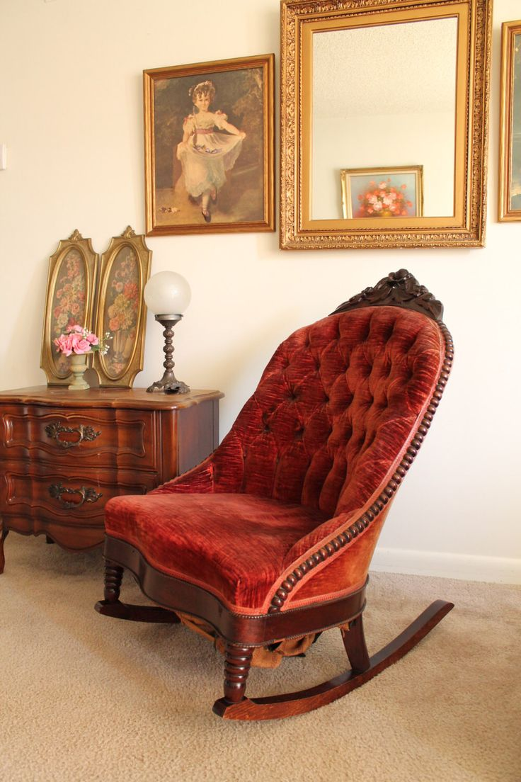 Victorian rocking chair - Low Victorian Rocking Chair Furniture Victorian Antiques Home Decor Antique Vintage Upholstered Maroon Sewing Rocker