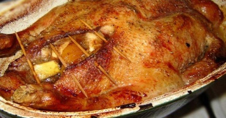 Запеченная утка с яблокам