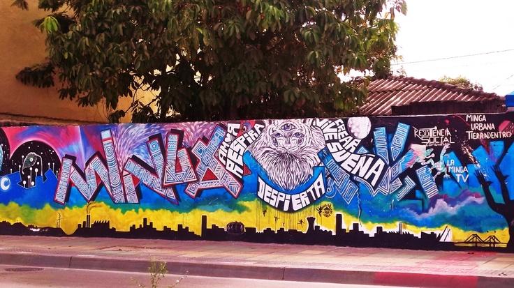 mural realizado por la minga urbana tierradentro