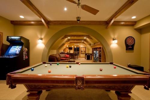 game room: Decor, Bathroom Design, Games Rooms, Basements Design, Pools Tables, Basements Ideas, Mancaves, Carriage House, Man Caves