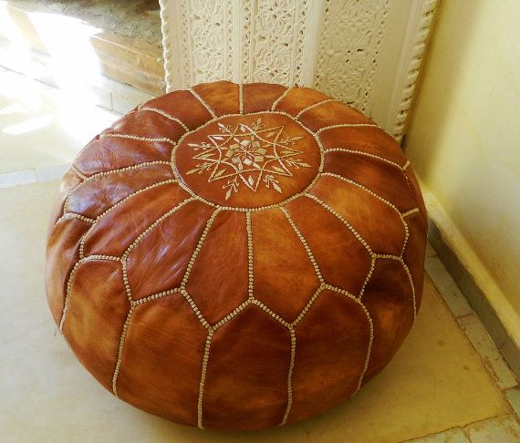 Beautiful handmade Moroccan leather pouf with beautiful embroidered design