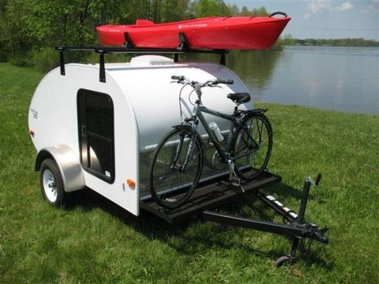 Teardrop, trailer camping, tiny size, room for the kayak and bike