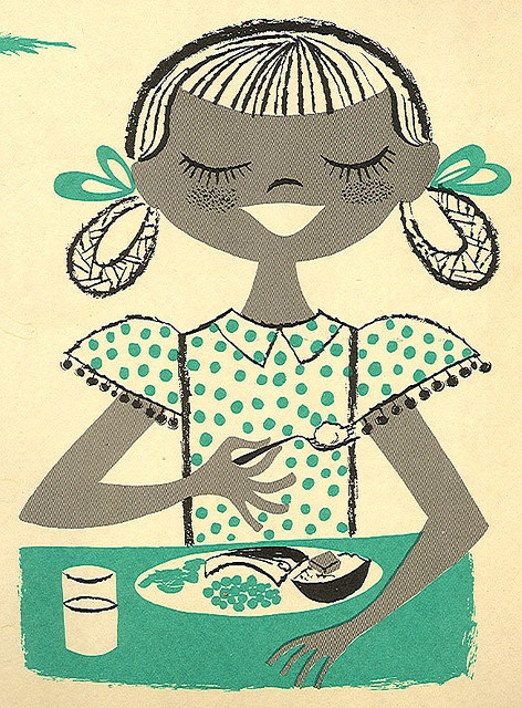 Cynthia Amrine illustrated detail from F. A. Owen educational poster, 1960.