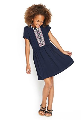 Embroidered Woven Dress (Kids) | FOREVER21 girls - 2000071327