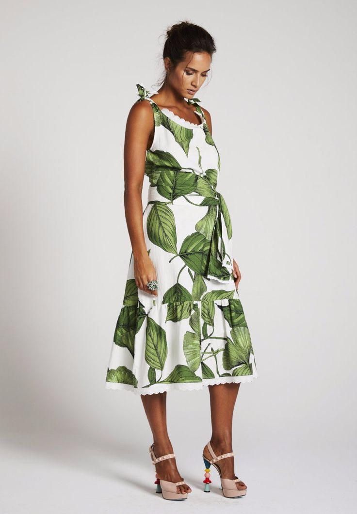 Binny - 'Globo Biscuits' Simple Shift Dress In Heart Of Palm With Waist Tie