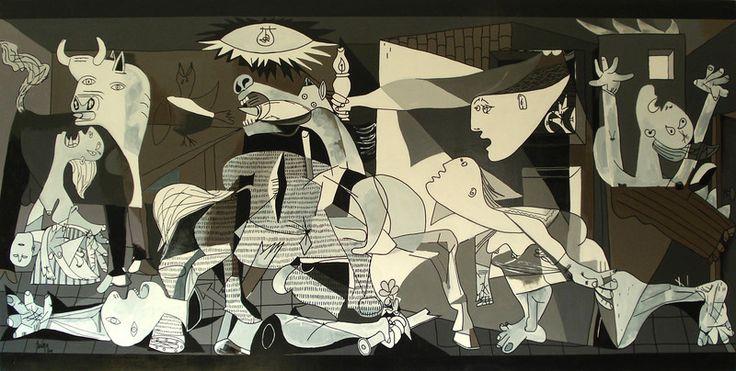 Contemporart Art ■ Paintings - Recovering Picasso by Chema Senra www.chemasenra.com    Recovering Picasso es un proyecto de 2009. Se trata del análisis de más de seis meses a través de bocetos, estudios cromáticos y compositivos de la obra maestra de Pablo Picasso, el Guernica. La técnica es óleo sobre madera y las dimensiones son 244x122cms