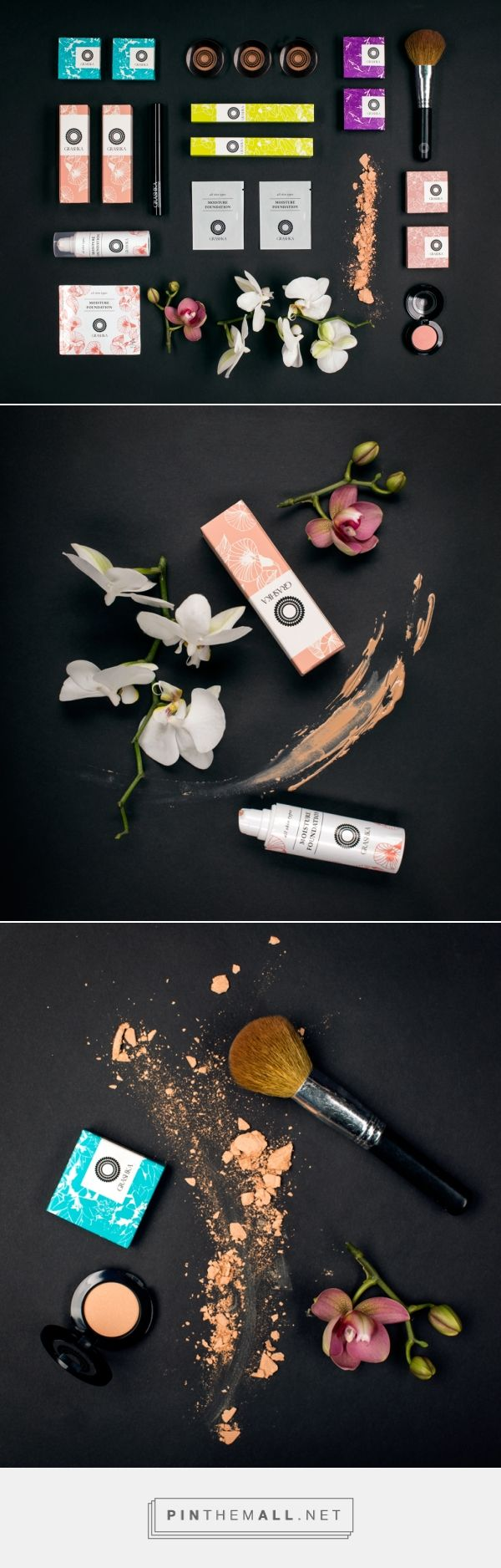 GRASHKA cosmetics packaging on Behance by Studio PolkaDot curated by Packaging Diva PD. Colors and flowers branding.