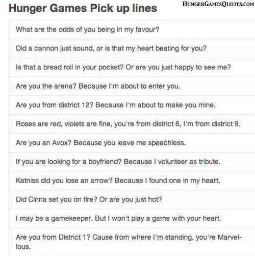 """Hunger Games pick up lines Best one I've ever heard that's not on here: """"Is your name Katniss Everdeen? Because you're causing an uprising in my district."""" XD"""