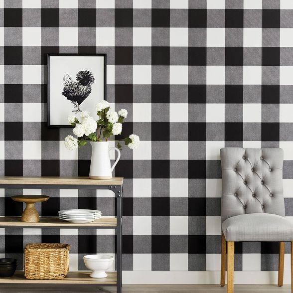 Buffalo Plaid Peel Stick Wallpaper Threshold In 2020 Peel And Stick Wallpaper Plaid Living Room Plaid Wallpaper