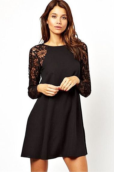 So Pretty! Love the Floral Lace Pattern! Sheer Black O-neck Long Sleeves Lace Splicing Chiffon Dress #Sheer #Floral #Black #Lace #Black_Lace #LBD #Party_Dress #Fashion