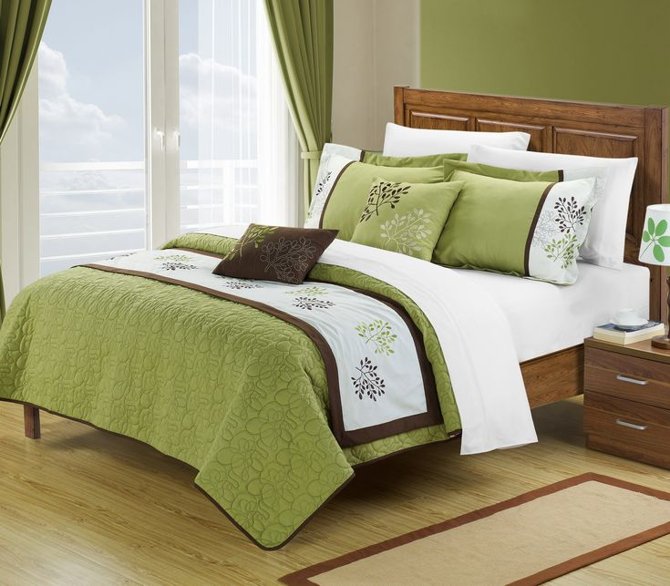 Hotel bedding inspired, this 6 pcs quilted coverlet, with embroidered runner give you the 2 looks you want in just one configuration. The coverlet is a simple tone on tone all over embroidery. The runner features an embroidery pattern which is removable. Embroidered accent pillows add attention to detail from every aspect. Green over Brown tones add simplicity yet elegance. This 6-piece lavish coverlet set comes with everything you need to do a complete makeover for your master or guest…