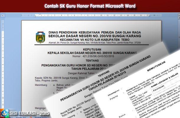 [File Pendidikan] Contoh Format Surat Keputusan Pengangkatan Guru Honorer Format Doc Microsoft Word