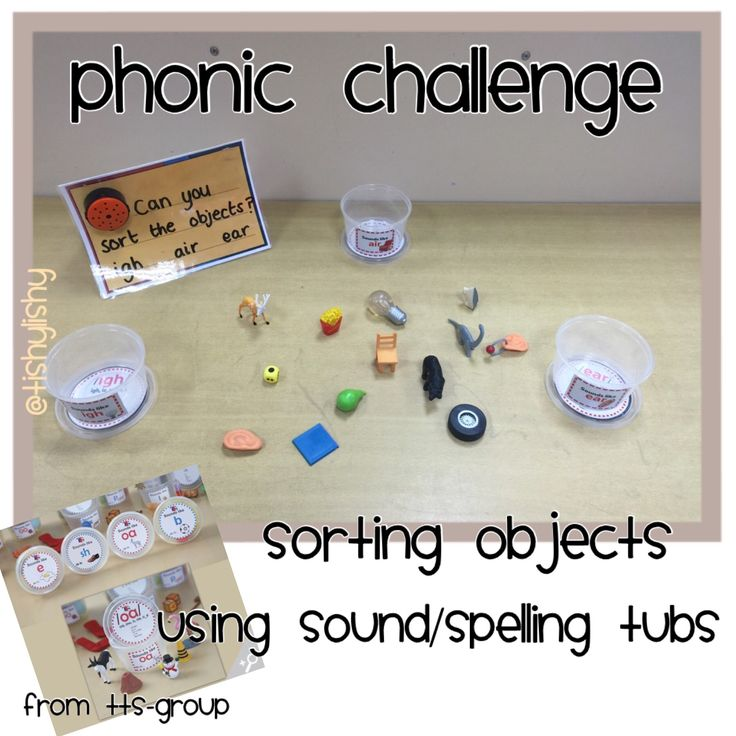 Phonic Challenge. Using little items from the sound tubs, the children will sort according to sound. (igh - ear - air)