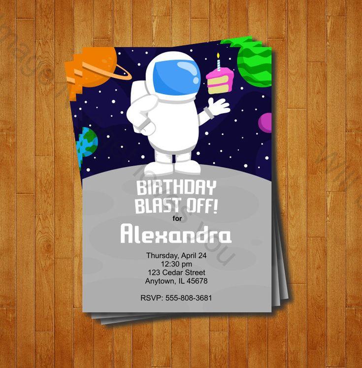 astronaut party invitations - 735×747