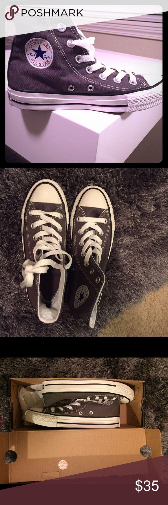 Dark gray high top Converse Brand New, never been worn. Gray high top Converse. Converse Shoes Sneakers