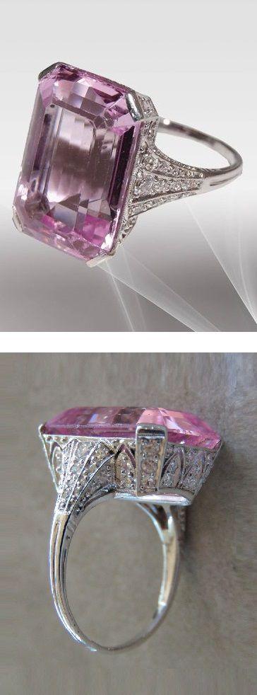 An Art Deco platinum, morganite and diamond ring, 1920-25. #ArtDeco #ring