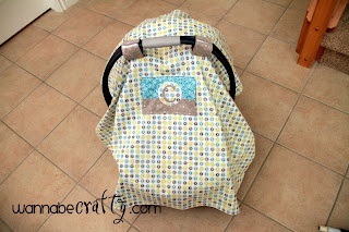 Peek-a-Boo Car Seat Canopy- this is the pattern that I used for Baby B's cover! Not as hard as it looks
