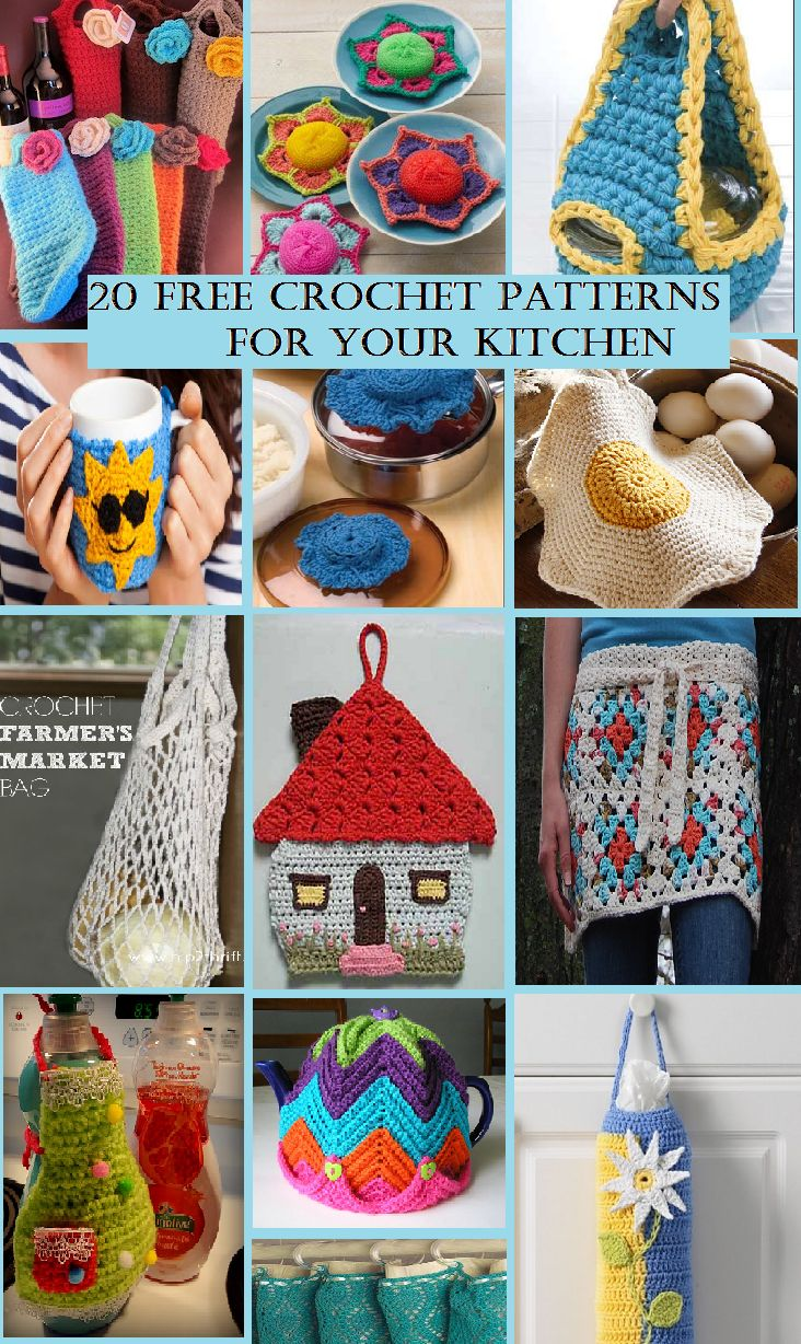 Colourful and fabulous compilation of 20 Free Kitchen #Crochet Patterns | START searching and STOP making.