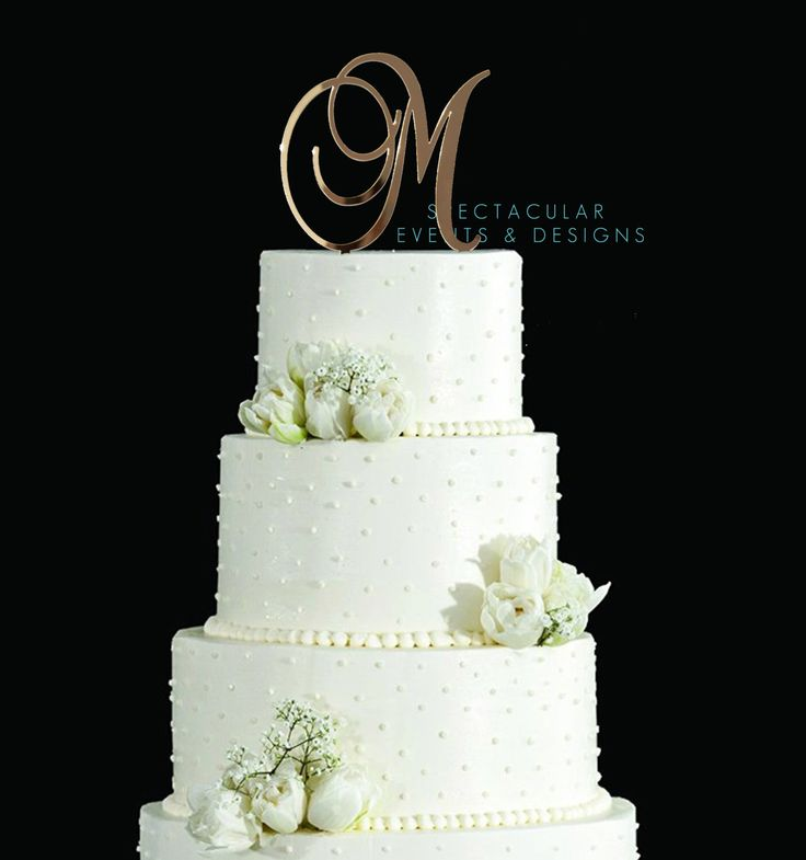"""5 """" Tall Gold Mirror Monogram Inital Letter Cake Topper Wedding Cake Toppers by SpectacularEvents on Etsy https://www.etsy.com/listing/264345329/5-tall-gold-mirror-monogram-inital"""
