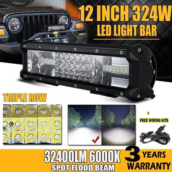Tri Row 12inch 324w Cree Chips Led Light Bar Offroad Led Work Lamp Bar Spot Flood Beam For 12v 24v Truck Suv Atv 4x4 4wd Cree Led Light Bar Bar Lighting Led