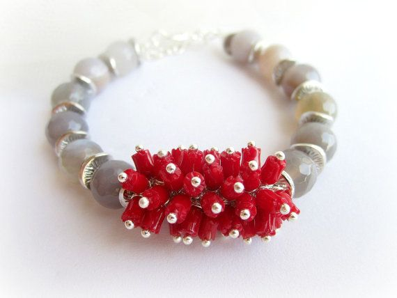 Red coral bracelet gray agate bracelet by MalinaCapricciosa