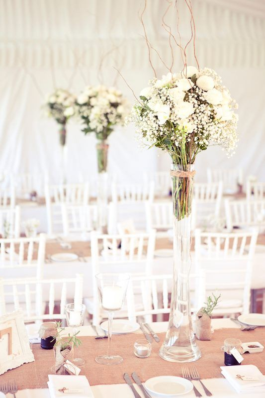 Tall Floral Table Centrepieces with Hessian Runners in Marquee