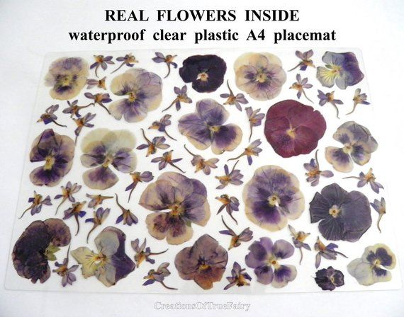Herbarium Art Placemat Wipeable Boho Place Mat Unusual Etsy Pressed Flowers Vinyl Gifts Floral Placemats