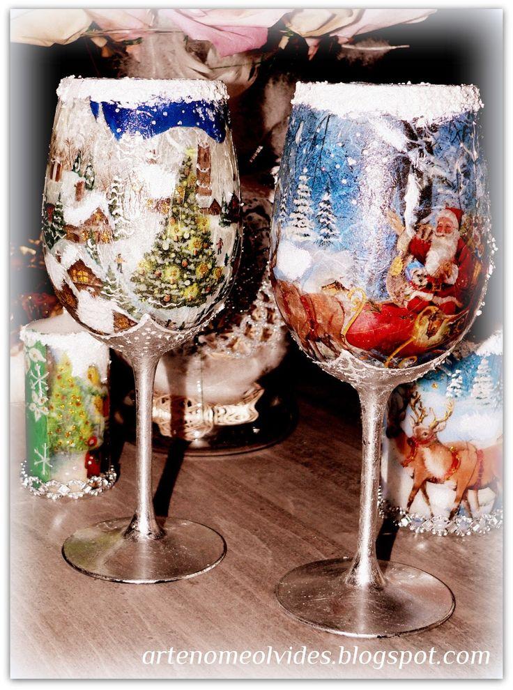 NIEZAPOMINAJKA NOMEOLVIDES/ Copa de vino decorado manualmente con invierno navidad/ copa de navidad/ copa navideno/christmas wine cups /DIY wine cups