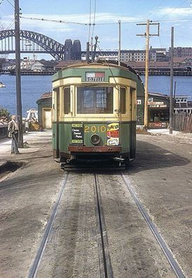 Tram at Balmain wharf heading for  Rozelle. Date 1950 x Skycraper City. They stopped running this service in 1961.
