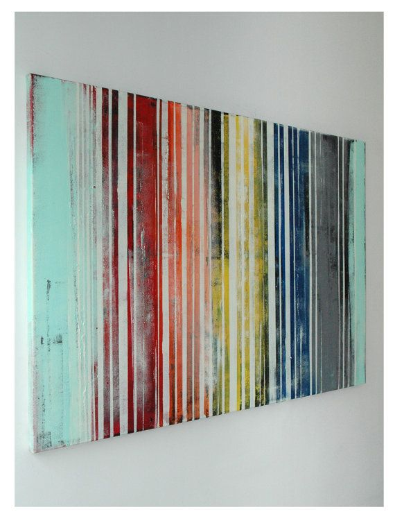 Large Abstract Schilderij Striped colors Acrylic by RonaldHunter