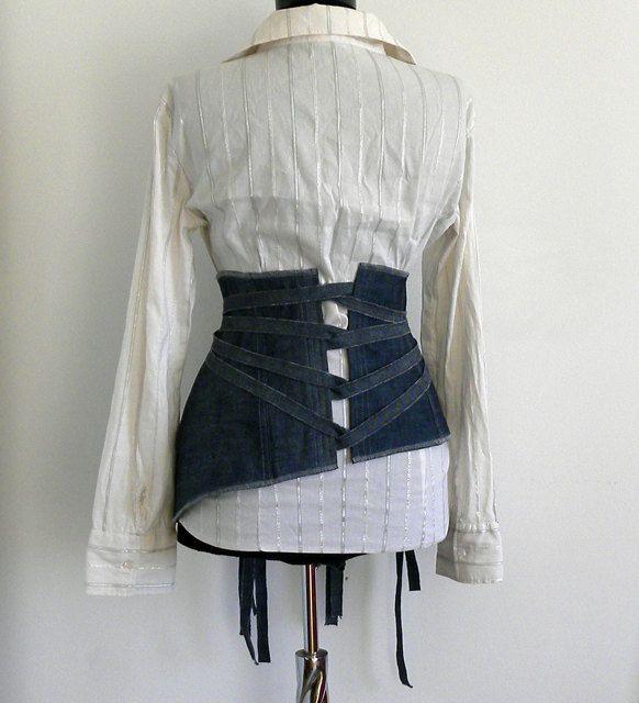 Elegant women belt - corset obi denim