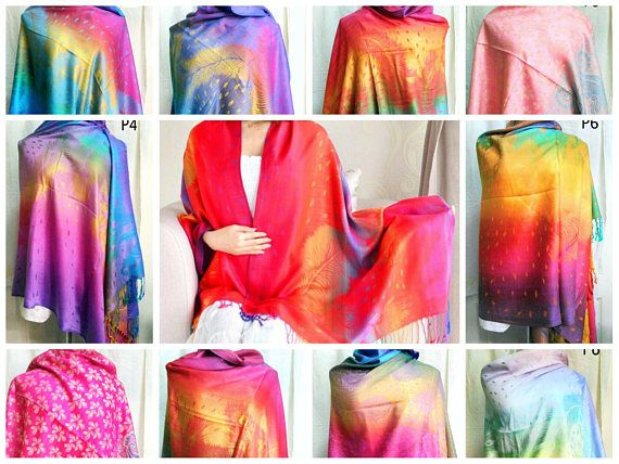 New Gorgeous Printed Rainbow Colours Large Pashmina Feel Shawl Scarf Hijab 9 styles and colours to choose FREE shipping