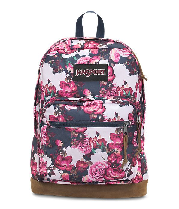 The JanSport Right Pack Expressions features a variety of prints, including animal prints, and colors on unique fabrications. This backpack includes signature suede leather bottom, 15 in laptop sleeve and front pocket with organizer.