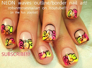 Nail-art by Robin Moses NEON WAVES!  http://www.youtube.com/watch?v=8Kun7gCUZQk