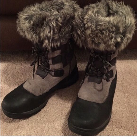 Timberlands Waterproof and insulated. Good condition. Zippers & Laces for easy on and off. Timberland Shoes Winter & Rain Boots