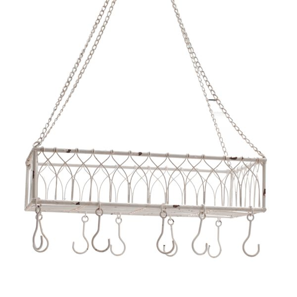 Hengende kurv med kroker i rustikk stil. Fin å bruke over en kjøkkenøy med kjøkkenutstyr og urter på, eller i uterommet med blomster og hageverktøy;) 52x31x13cm. Oppheng ca 60cm.