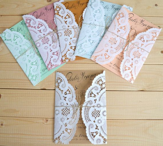 Doily Wedding Invitation Tied With Twine In Choice Of Color - Rustic Vintage Wedding Invitation on Etsy, £1.22